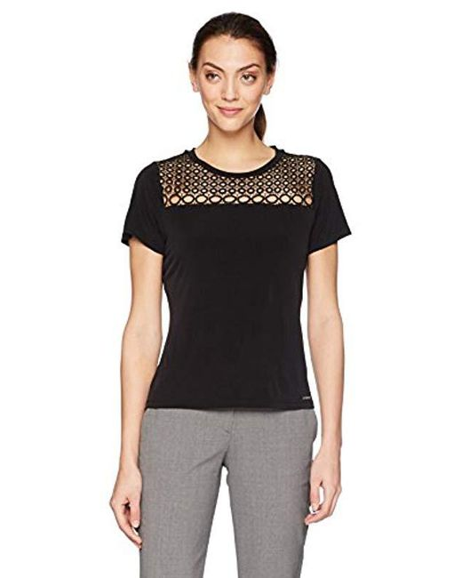 Calvin Klein - Black Short Sleeve Top With Eyelet - Lyst