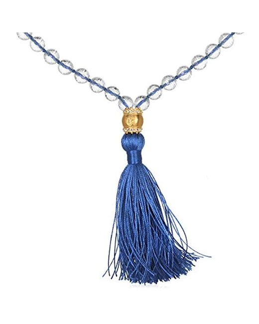 Satya Jewelry - Crystal And White Topaz Gold Om Dark Blue Tassel Mala Necklace 40-inch, One Size - Lyst