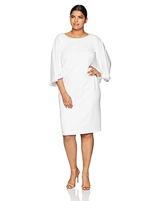 Lyst Calvin Klein Plus Size Solid Embellished Caplet Dress In White