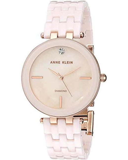 de9fbe79a Anne Klein - Metallic Ak Diamond-accented Ceramic Bracelet Watch - Lyst ...