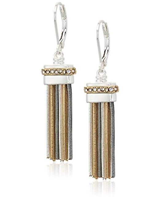 Nine West - Metallic Tri-tone And Crystal Tassel Drop Earrings - Lyst