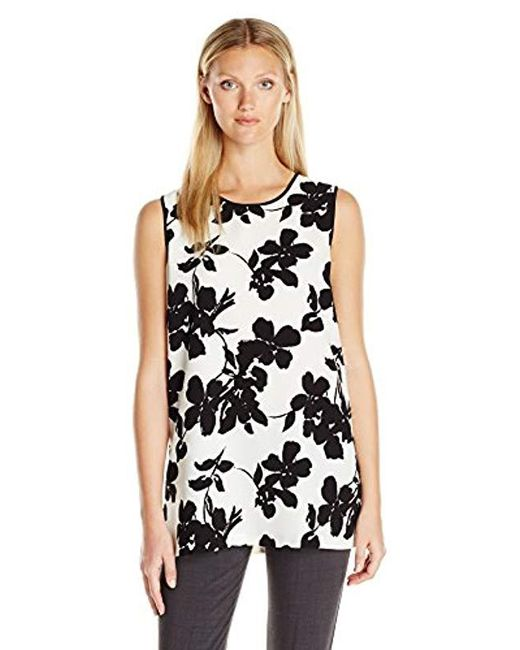 Vince Camuto - Black Sleeveless Fresco Blooms Tunic - Lyst
