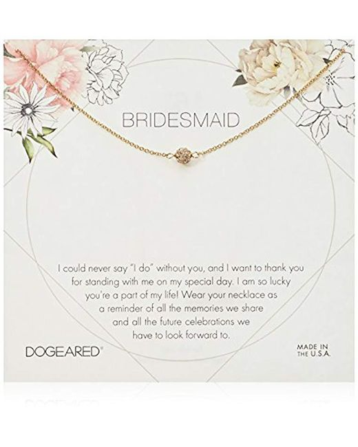 "Dogeared - Metallic Bridesmaid Flower Card Pave Sparkle Ball Chain Neckalce, 16"" + 2"" Extension - Lyst"