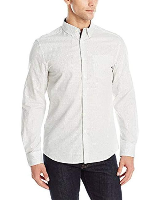 Kenneth Cole Reaction - White Long Sleeve Printed Shirt for Men - Lyst