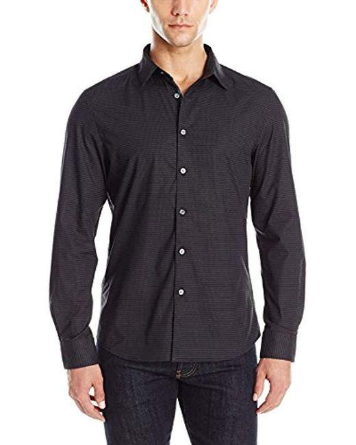 Kenneth Cole Reaction - Black Long Sleeve Chevron Check Shirt for Men - Lyst