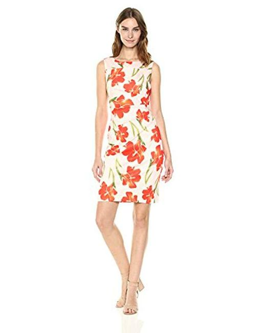 Calvin Klein Red Scuba Sleeveless Princess Seamed Sheath Dress