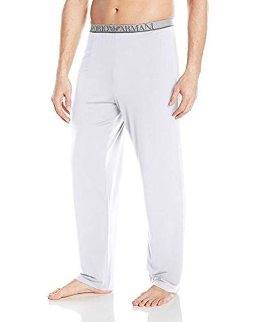 Emporio Armani - White Stretch Modal Lounge Pant for Men - Lyst