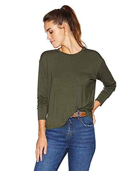 58b88573c022 Daily Ritual - Green Jersey Long-sleeve Boxy Pocket Tee - Lyst ...