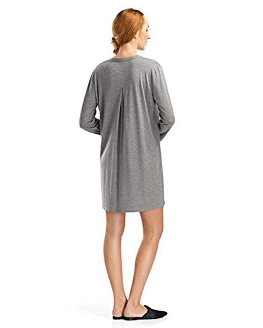 62f5a387eb Lyst - Hanro Sleep And Lounge Long Sleeve Gown in Gray