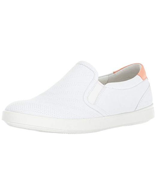 Ecco White Aimee Perforated Slip On Fashion Sneaker