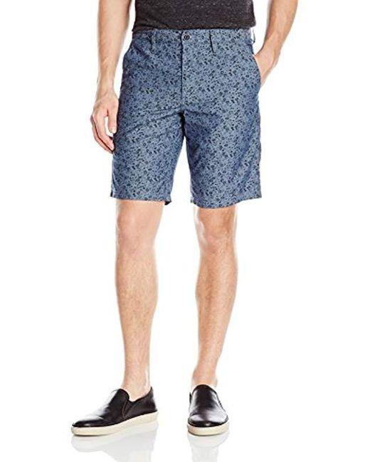 John Varvatos - Blue Printed Flat Front Short for Men - Lyst