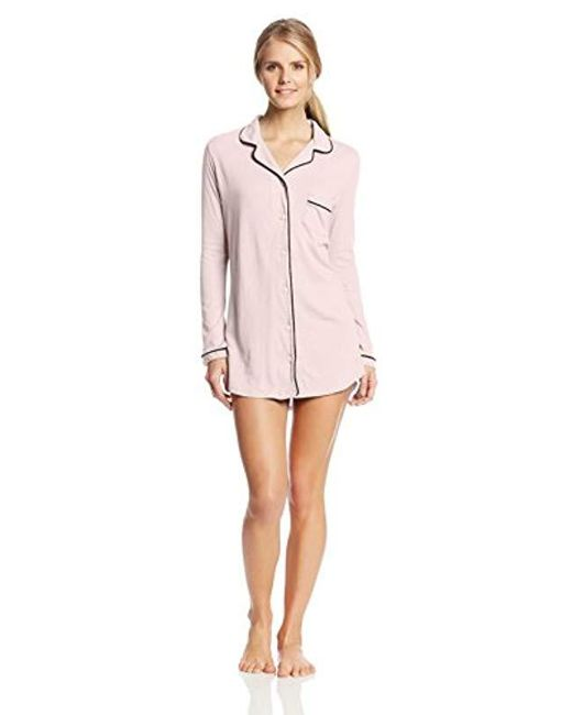Only Hearts - Pink Organic Cotton Piped Button Front Night Shirt - Lyst