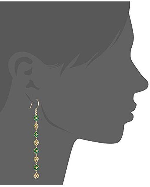 Miguel Ases - Multicolor Green Jade And Swarovski Dainty-floral Drop Earrings - Lyst