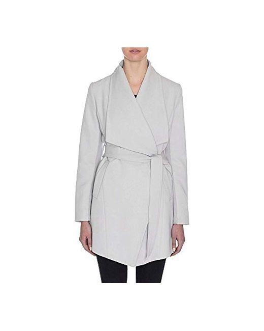 Tahari - Gray Draped Trench Wrap Coat - Lyst