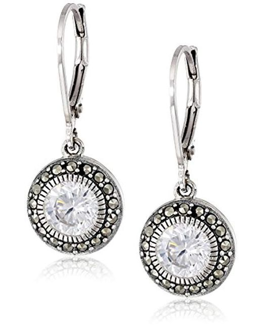 Judith Jack - Metallic Sterling Silver, Cubic Zirconia, And Marcasite Drop Earrings - Lyst