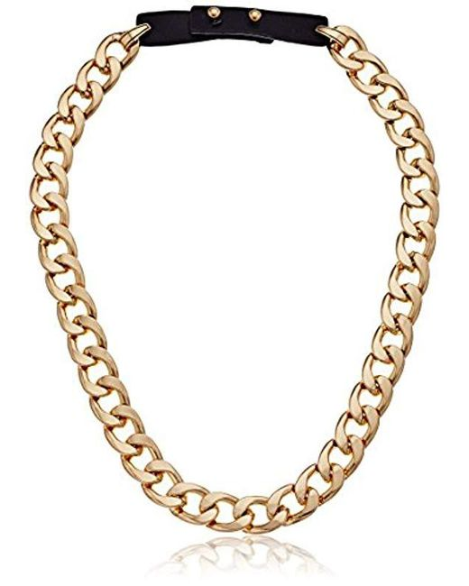 Steve Madden - Multicolor S Curb Chain Leather Strap Necklace - Lyst