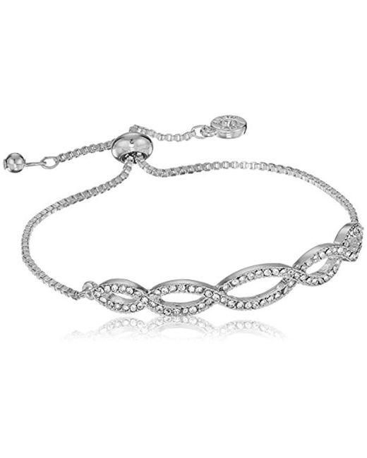 Anne Klein - Metallic Silver Tone Pave Weave Slider Bracelet, Silver Tone, Adjustable - Lyst