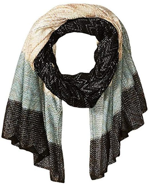 BCBGMAXAZRIA - Black Chevron Knit Wrap - Lyst