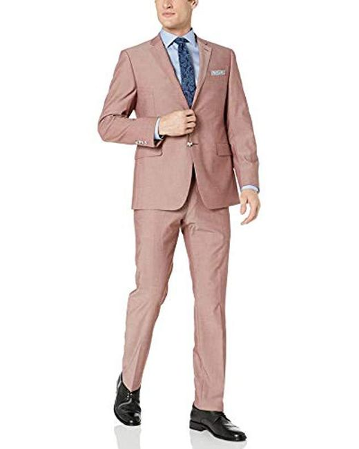 Perry Ellis Pink Two Piece Finished Bottom Slim Fit Suit for men