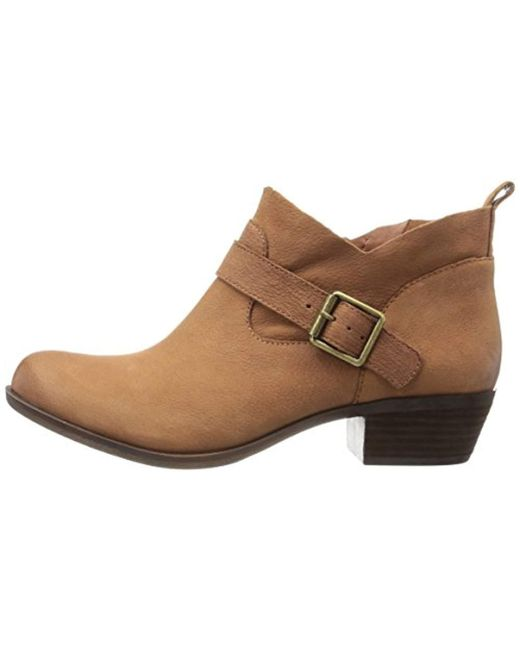bd7c624ed862 Lyst - Lucky Brand Lucky Boomer Ankle Bootie in Brown - Save 4%