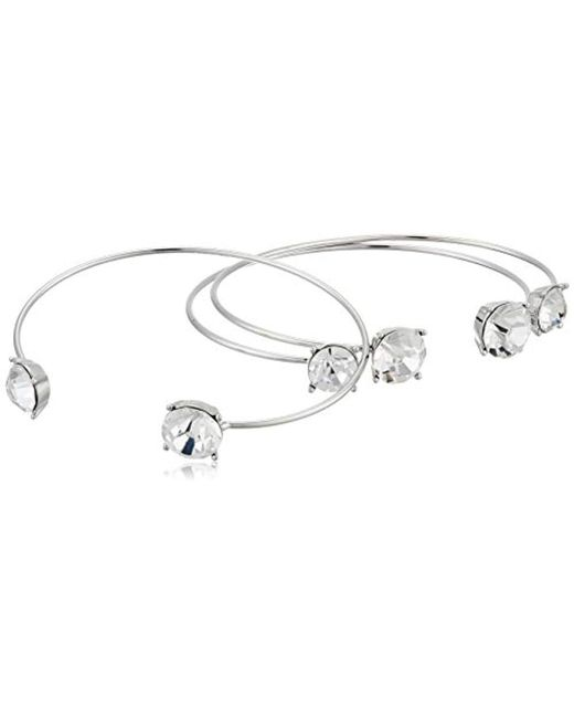 Guess - Metallic S Three-piece Dainty Stone End Cuffs - Lyst