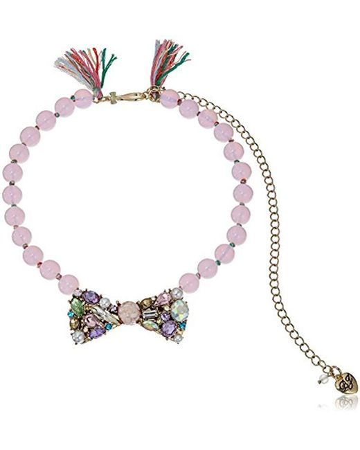 Betsey Johnson - S Mixed Multicolored Stone Bow Frontal Beaded Necklace - Lyst