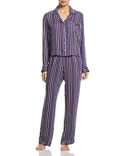 Splendid - Blue Button Up Long Sleeve Top And Bottom Classic Pajama Set Pj - Lyst