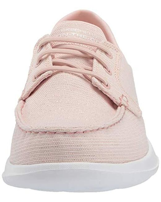 Skechers Canvas Go Walk Lite 16422 Boat Shoe in Light Pink