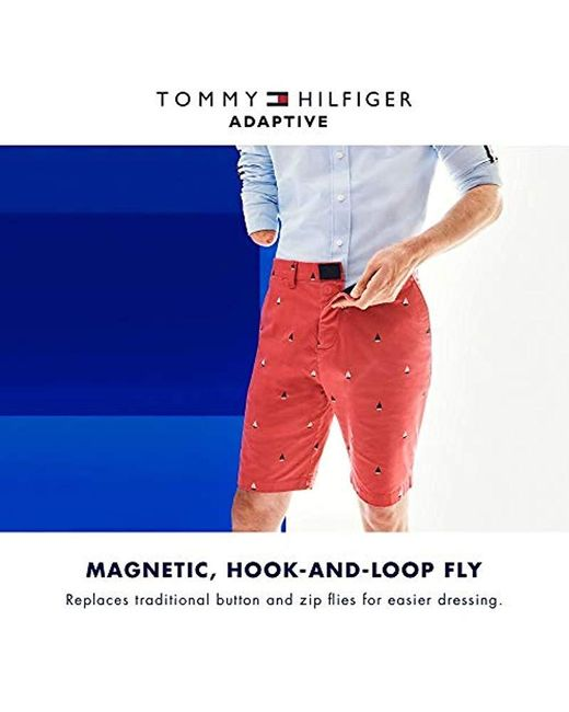 39a798a1d2 ... Tommy Hilfiger - White Adaptive Tennis Shorts With Adjustable Waist And Velcro  Magnet Fly for Men