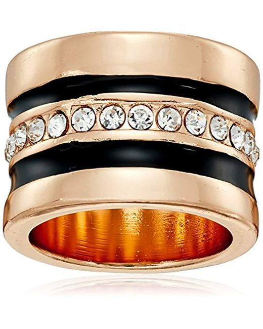 """Guess - Metallic """"basic"""" Jet And Gold Wide Band With Enamel And Stones Ring, Size 8 - Lyst"""