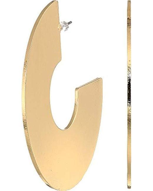 Guess - Metallic S Wide Flat C Hoop Earrings - Lyst