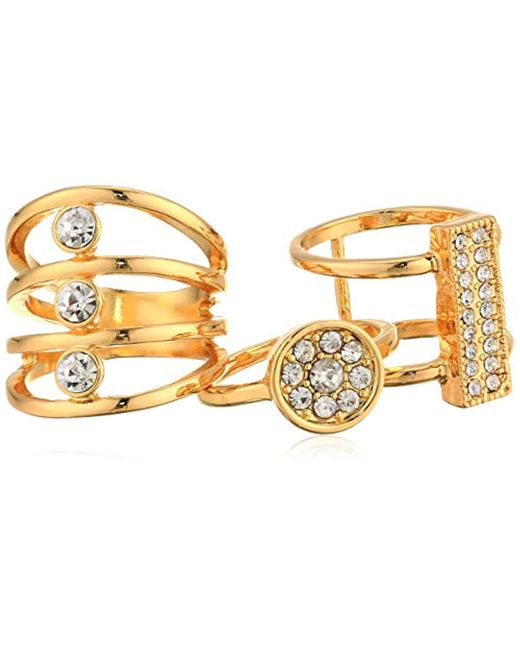 Guess - Metallic Three-piece Ring Set With Crystal Stones - Lyst