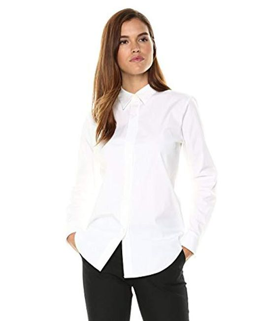 Theory White Long Sleeve Essential Buttondown Shirt