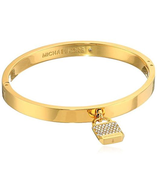 Michael Kors - Metallic Iconic Haute Hardware Logo Pave Padlock Hinged Bangle Bracelet - Lyst