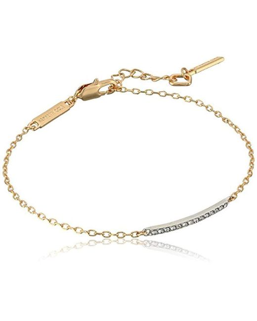 Kenneth Cole - Metallic Two Tone Bar Anklet, Crystal, One Size - Lyst