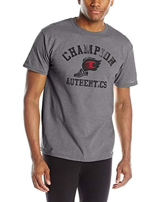 9c1824e7 Champion - Gray Graphic Jersey T-shirt for Men - Lyst ...