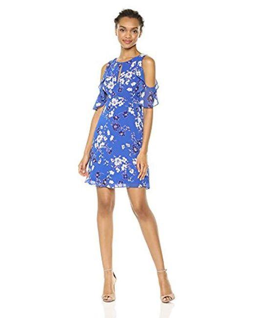 Kensie - Blue Cold Shoulder Floral Printed Dress - Lyst