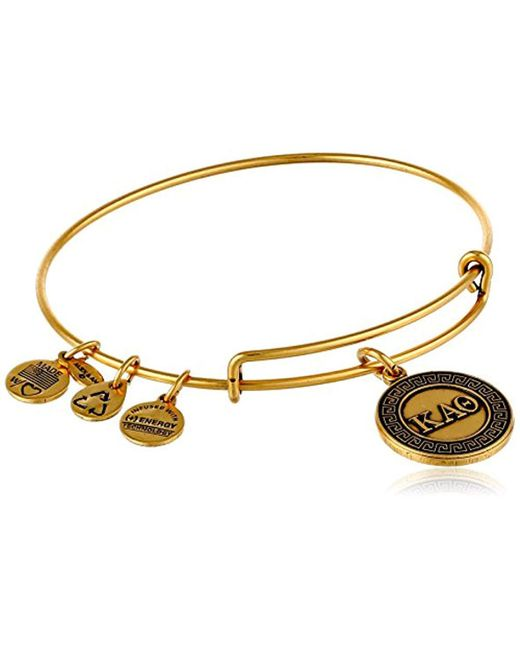 "ALEX AND ANI - Metallic ""sorority"" Kappa Alpha Theta Expandable Rafaelian Bangle Bracelet, 2.4"" - Lyst"