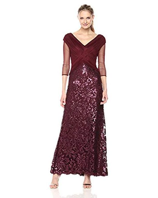 Tadashi Shoji - Multicolor Mesh And Sequin Gown - Lyst