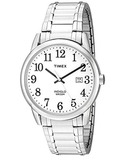 7105c9903 Timex - Metallic Easy Reader Date Expansion Band 38mm Watch for Men - Lyst  ...