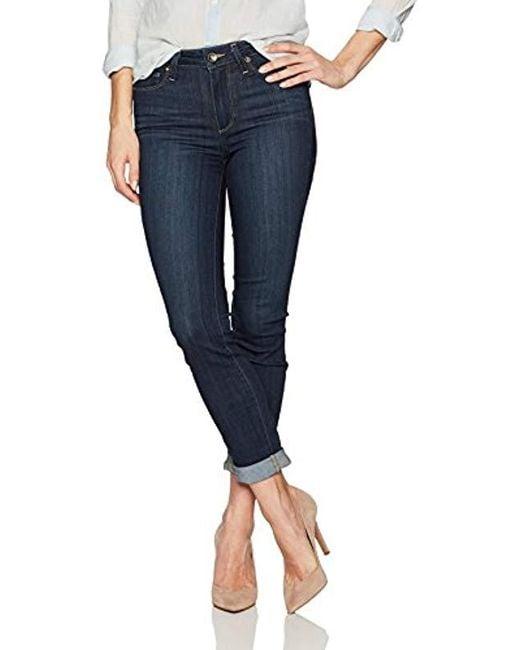 PAIGE - Blue Hoxton Crop Rollup Jeans - Lyst