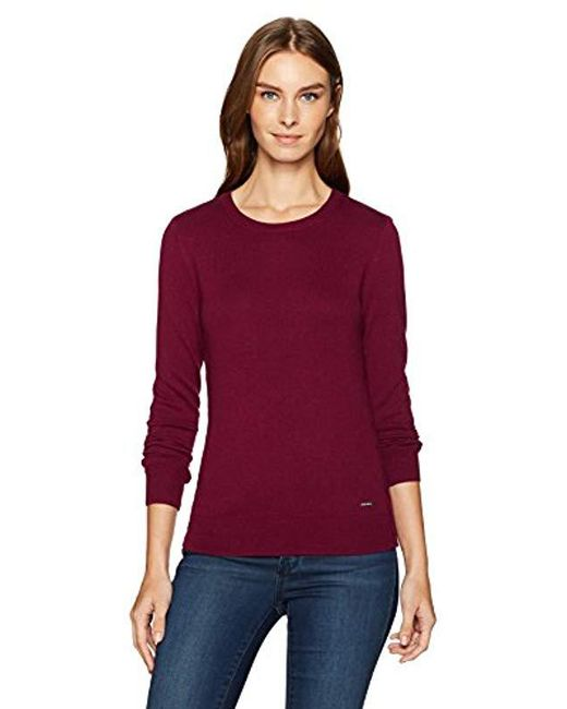 Nautica - Red Long Sleeve Cable Side Seam Crewneck Sweater - Lyst