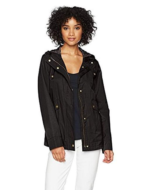 Cole Haan - Black A-line Jacket With Attached Hood - Lyst