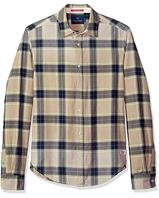 Scotch & Soda Multicolor Classic Twill Shirt With Yarn-dyed Check Pattern for men