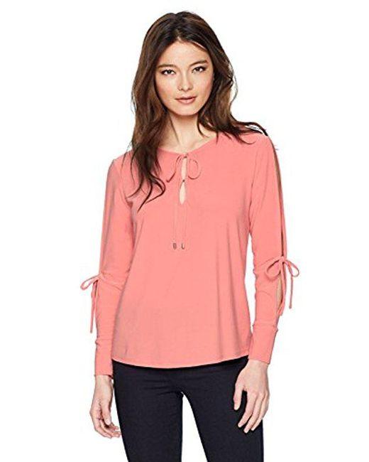 Ellen Tracy - Pink Petite Tie Neck Top With Slit Sleeves - Lyst