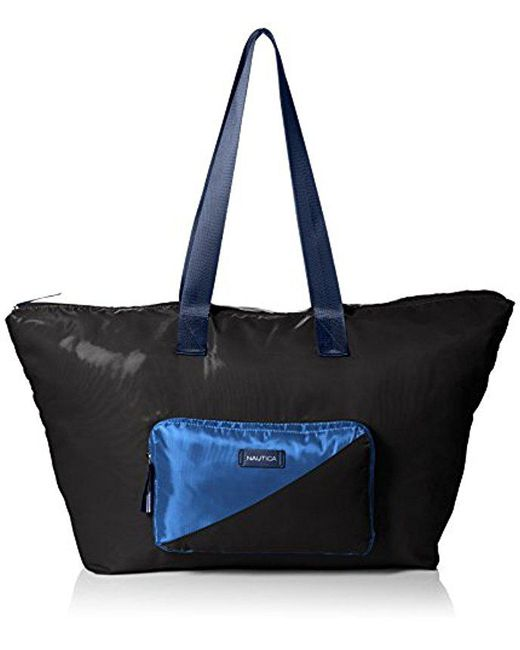 Nautica - Black S New Tack Packable Nylon Tote for Men - Lyst
