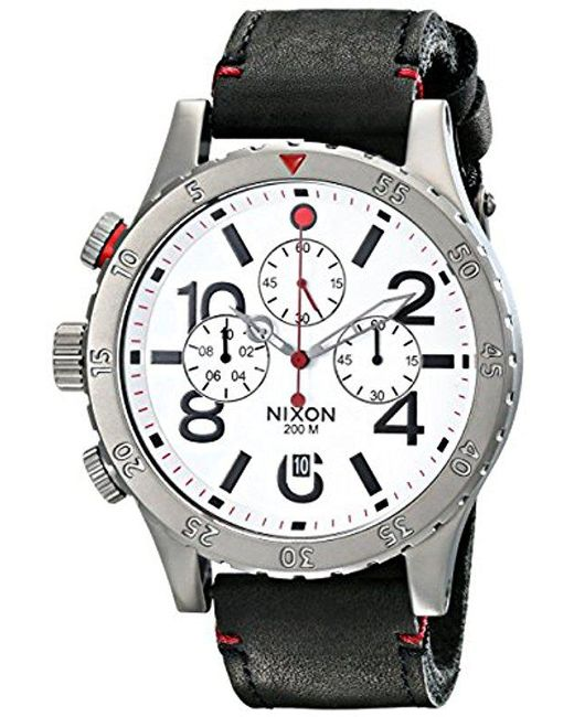 Nixon - Multicolor 48-20 Gun Rose Stainless Steel Chronograph Watch With Leather Band for Men - Lyst