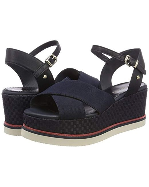 5e12ceed7739ba Tommy Hilfiger  s Sporty Stretch Corp. Flatform Sandals in Blue - Lyst
