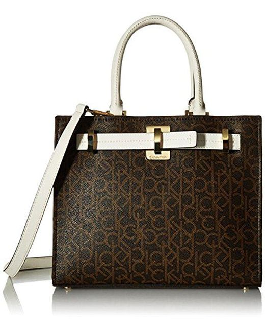 CALVIN KLEIN 205W39NYC - Brown Faye Monogram Signature Satchel - Lyst