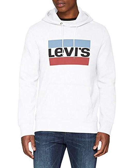 Levi's - White Logo Printed Hooded Cotton Sweatshirt for Men - Lyst